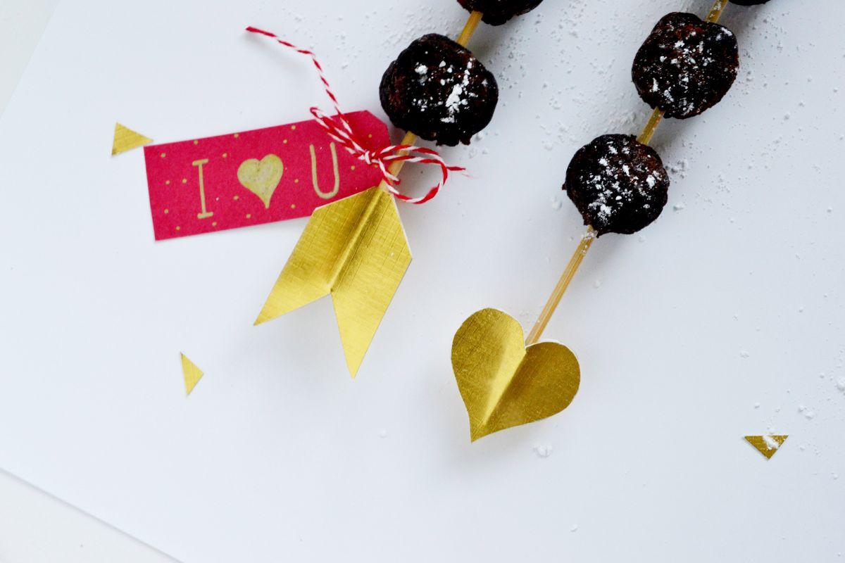 Valentine's Day Dessert Kabobs - brownie ball
