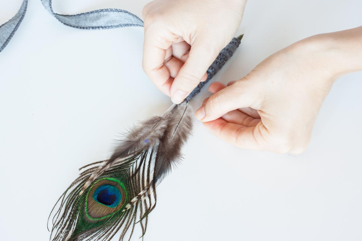 Father's day gift idea diy feather pen string