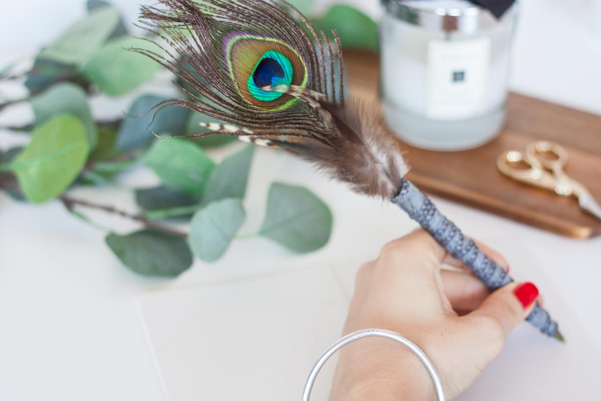 Modern father's day gift idea diy feather pen
