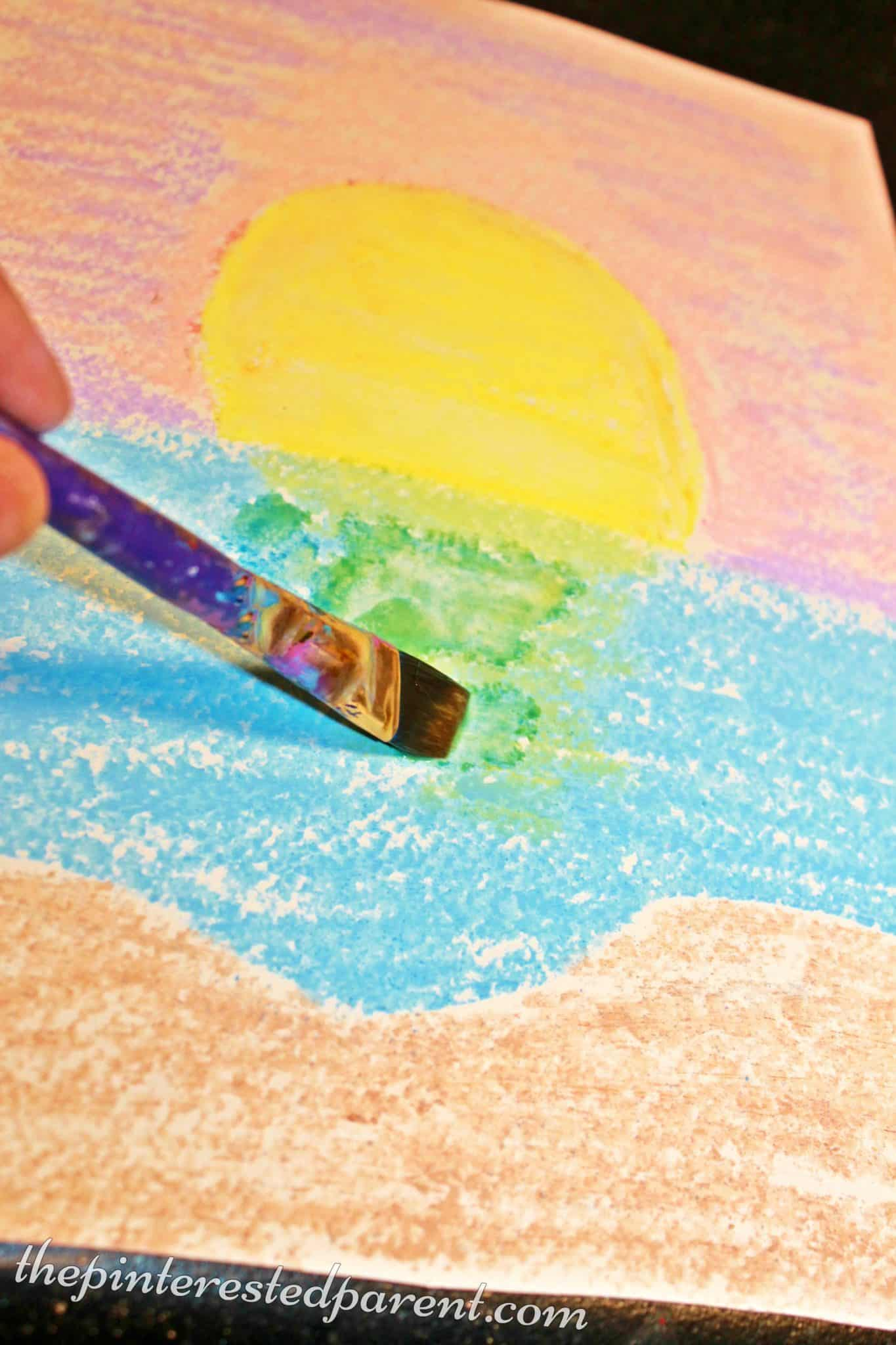 Chalk watercolour painting