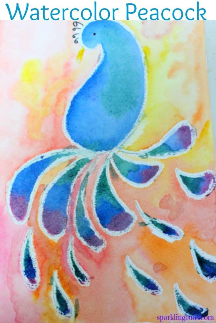 Crayon watercolour resistant peacock
