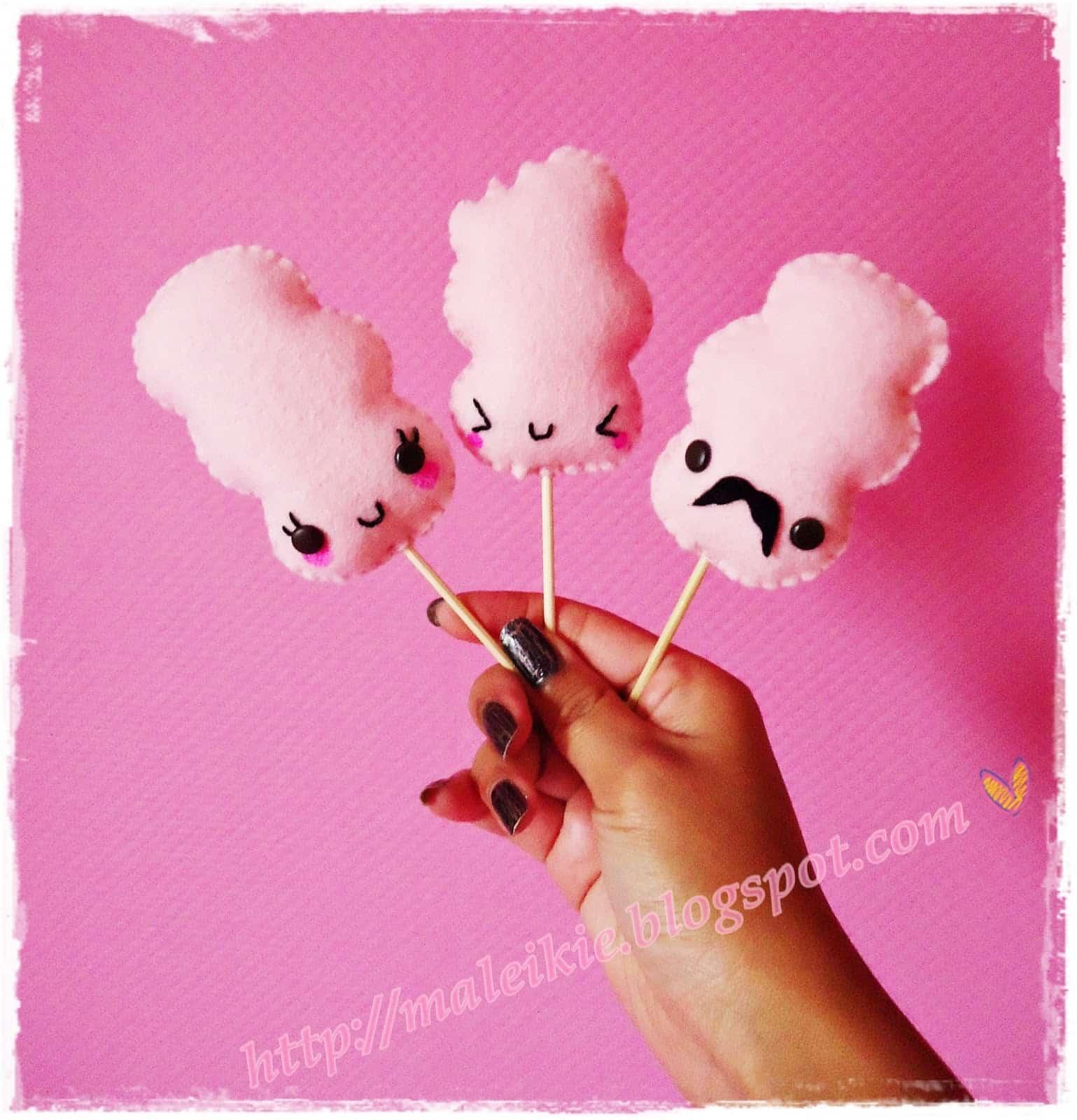 Kawaii cotton candy stitching characers