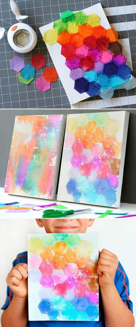 Tissue paper watercolour craft