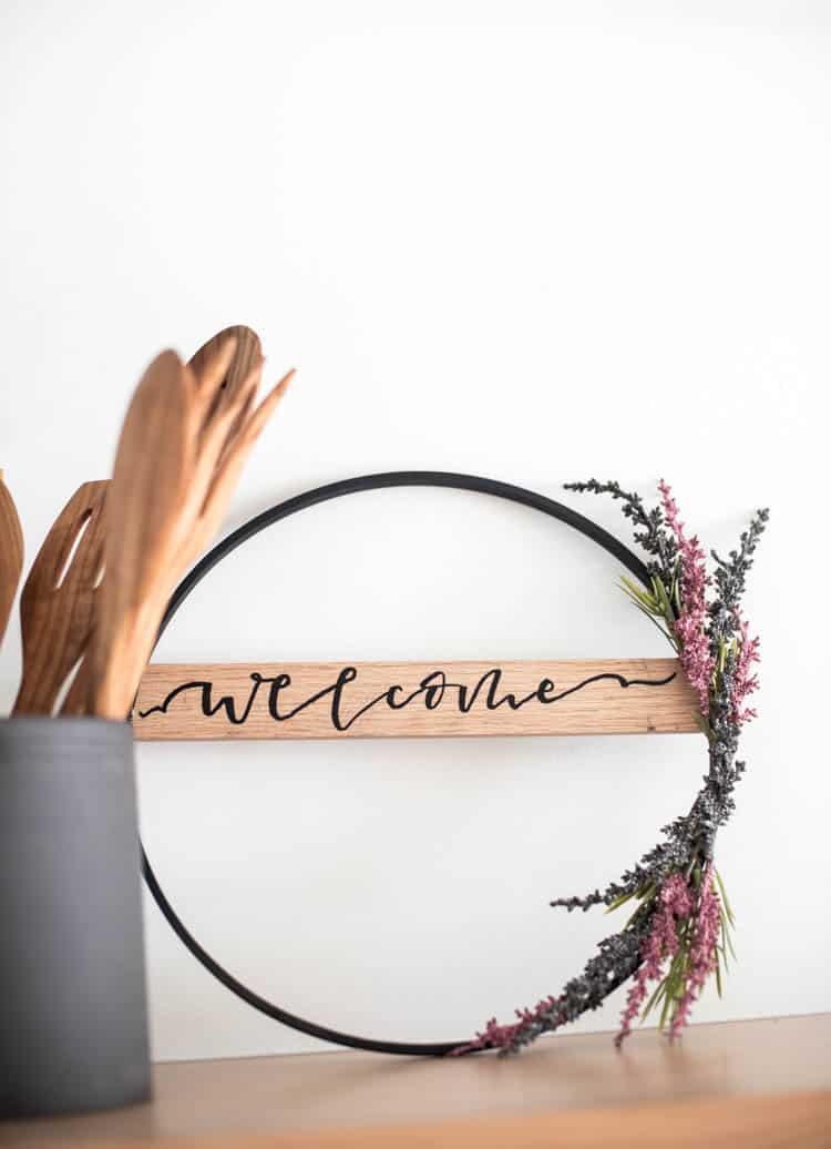 Autumn hoop wreath diy modern