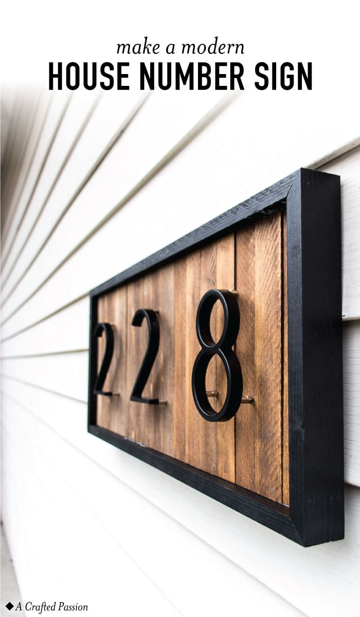 Modern house number sign pin