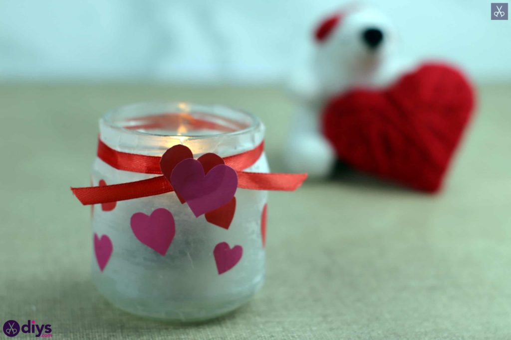 DIY Valentine's Day Candle Holder from a Mason Jar