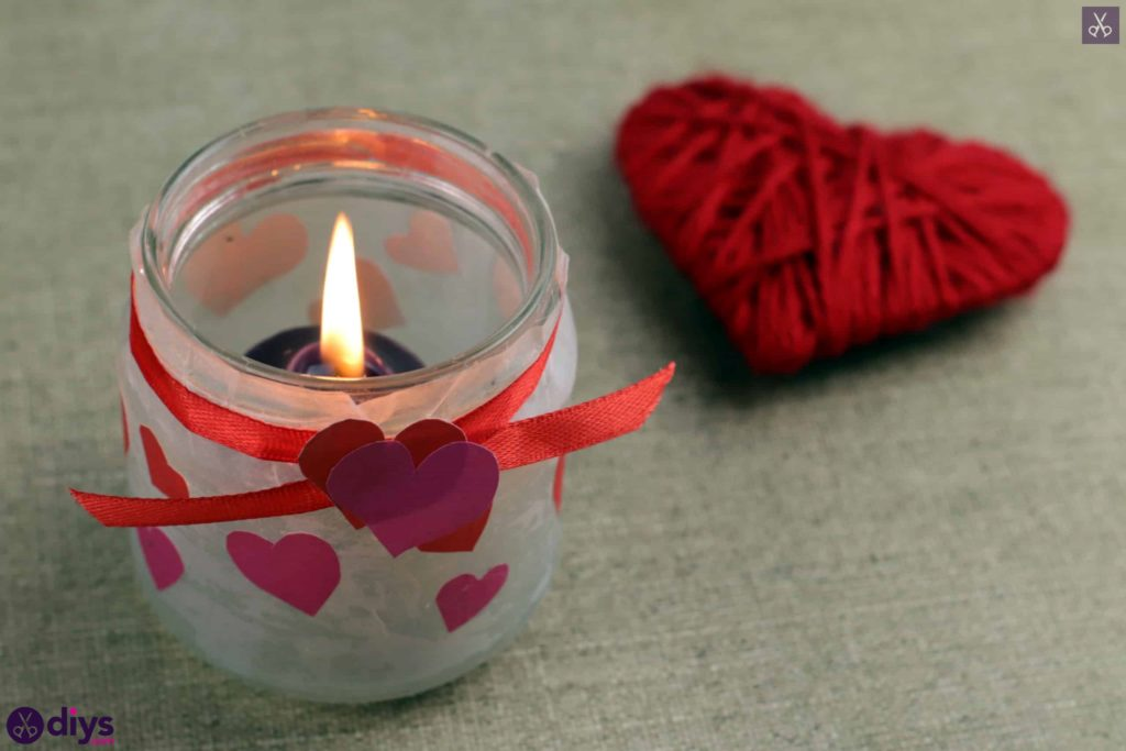 Valentine's day candle holder mason jar