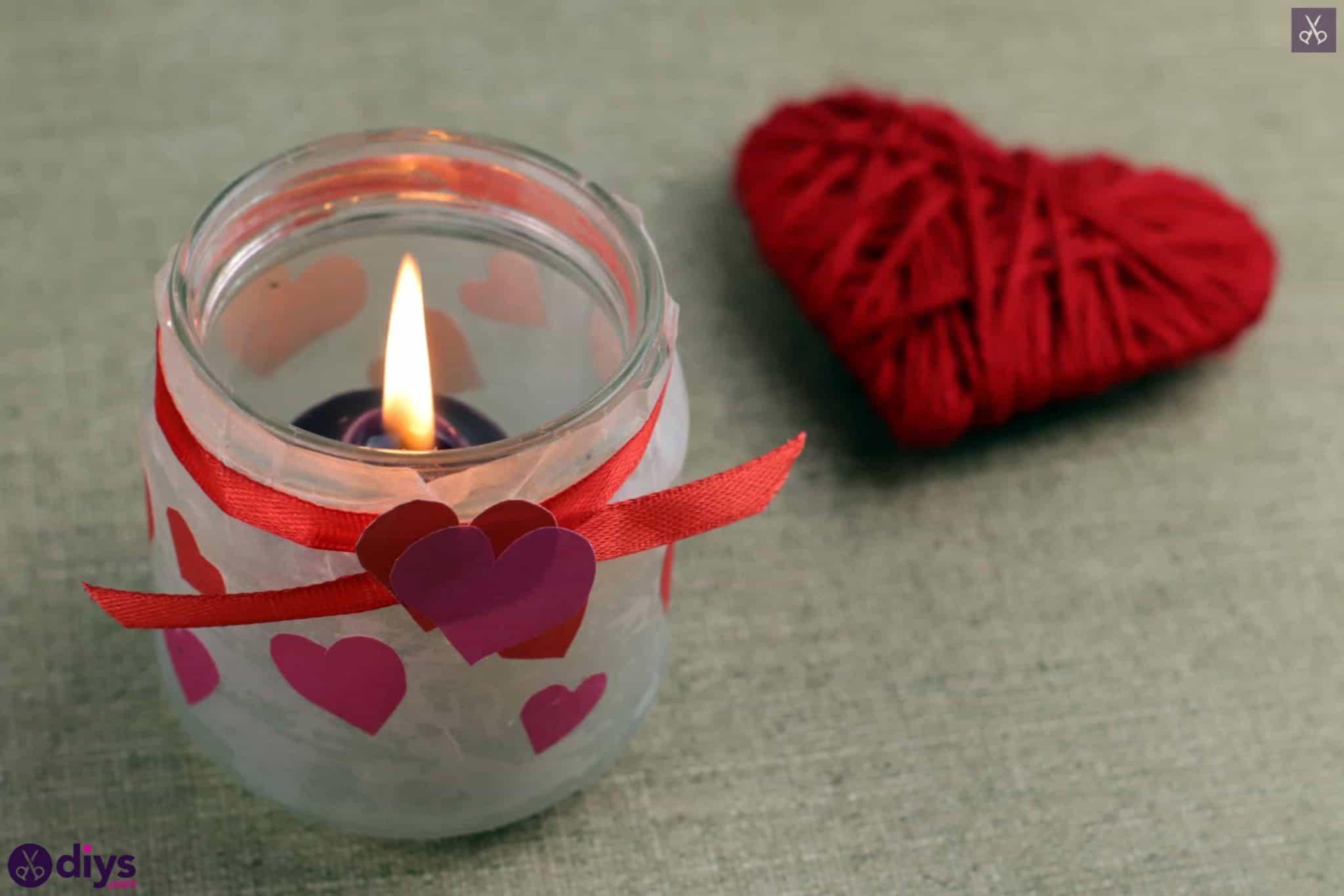 Valentines day candle holder mason jar