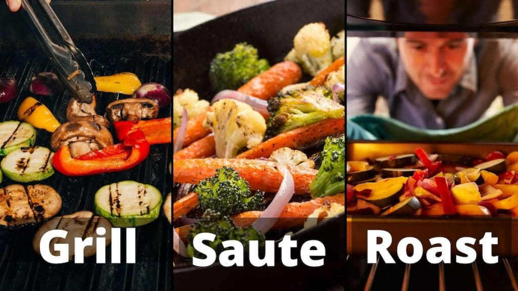 "A banner showing the 3 methods to use in order to reheat the thawed roasted vegetables ""grilled, sauted, and roasted"""
