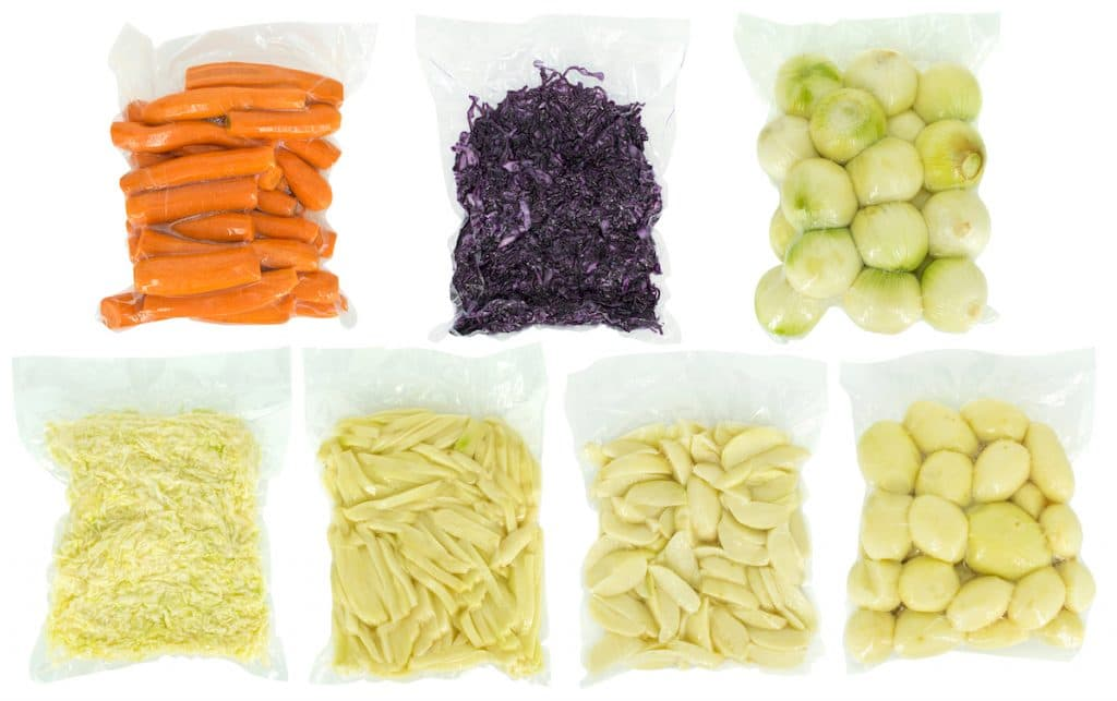 A picture of vacuum sealed vegetables