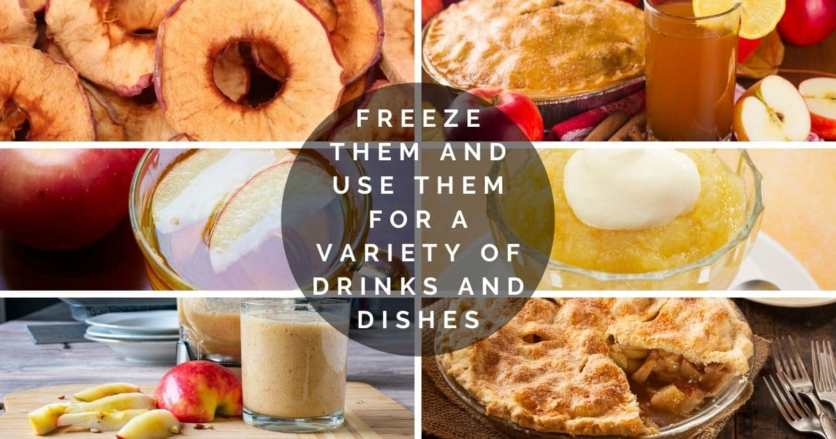 A banner with a variety fo foods and drinks to make with frozen apple
