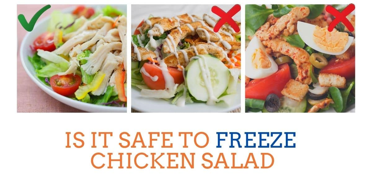 A banner showing that chicken salad is ok to freeze, but chicken salad with mayonnaise or egg is not ok to freeze