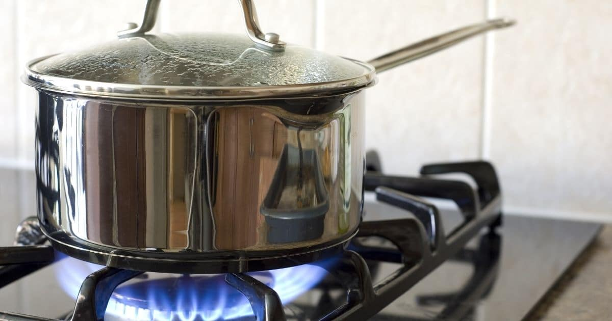 A picture of a pan on the stove over high to medium heat