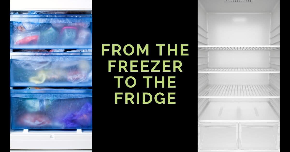 "A banner with a picture of a freezer and a fridge; and the words ""from the freezer to the fridge"""