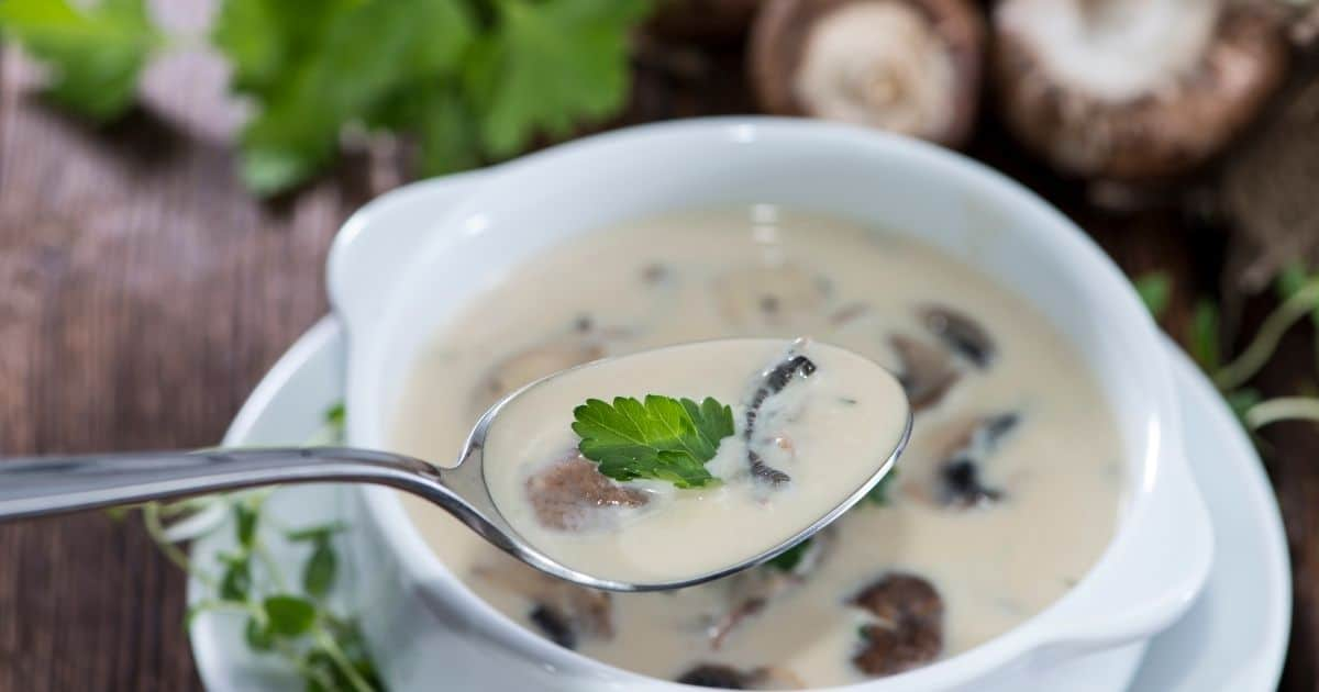 A picture of creamy mushrooms