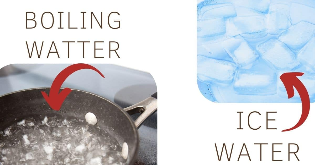 A picture of boiling water and ice cold water. The two method needed for blanching!