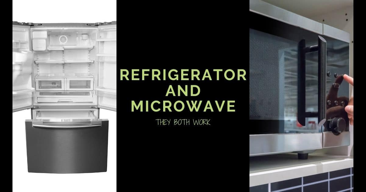 "A banner with the picture of a refrigerator and microwave, and the words ""Refrigerator and Microwave, they both work"""
