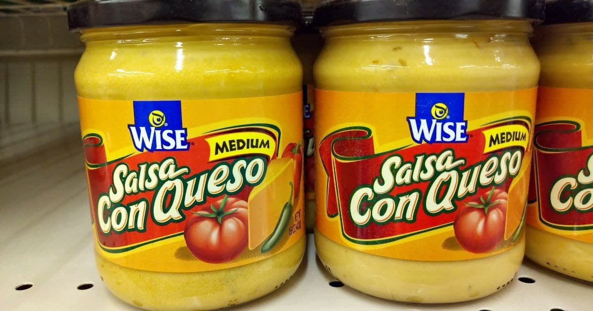 A picture of cheese sauce in the supermarket