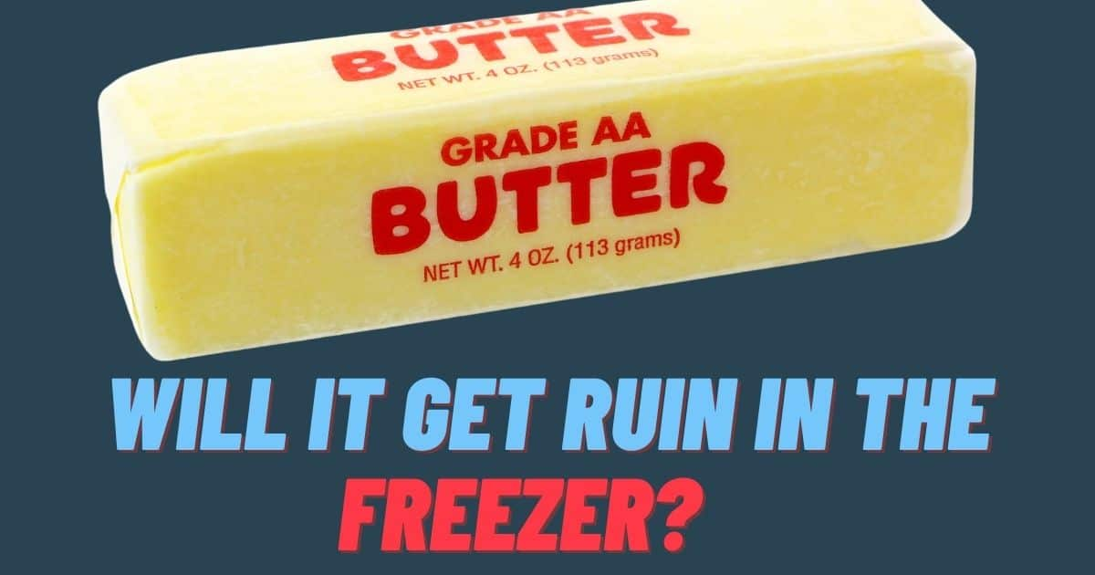 "A banner with a picture of a butter stick and the words ""will it get ruin in the freezer?"""