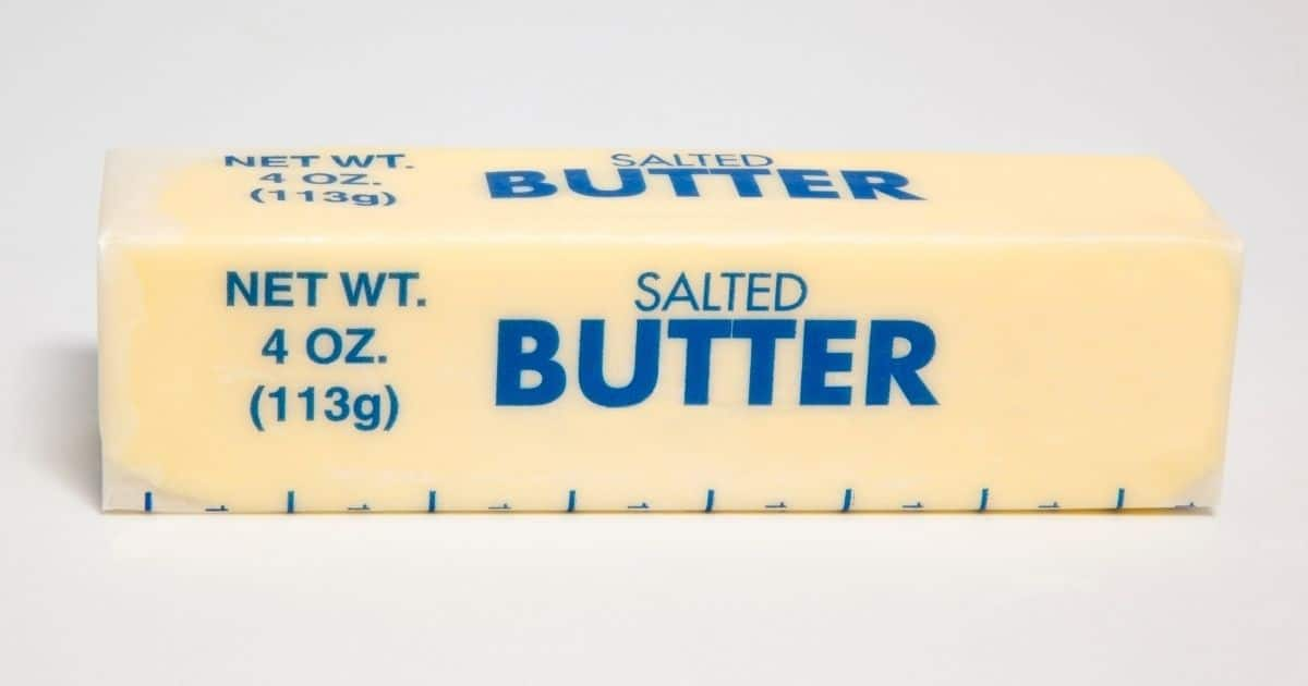 A picture of a salted butter stick