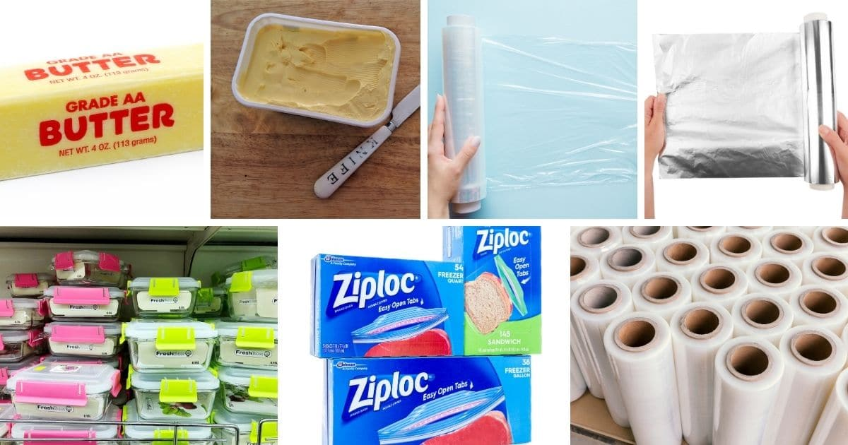 Pictures of: butters' in their original containers, plastic wrap, aluminium foil, air tight containers, ziploc bags and vacuumed bags.