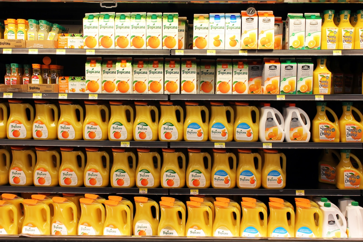 An image of orange juice in the supermarket