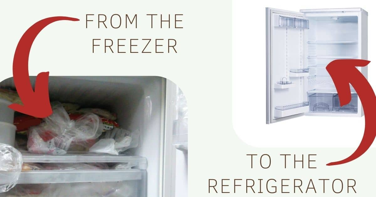 "A banner with pictures of a freezer and a refrigerator and the words ""from the freezer to the refrigerator"""