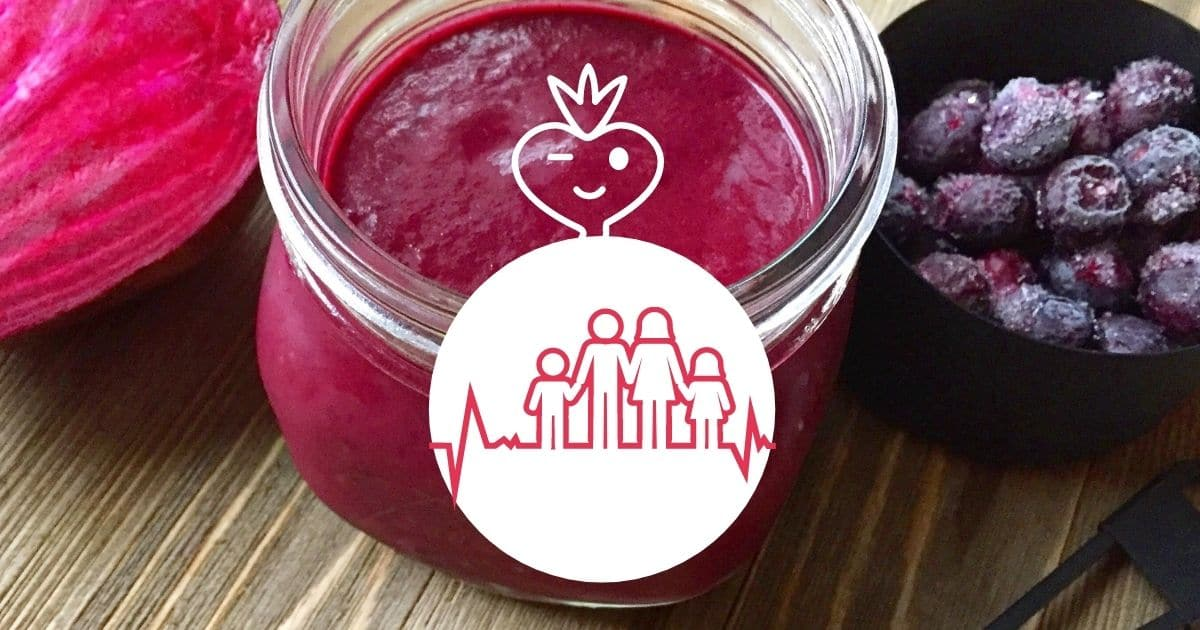 A smoothie made with beets and blueberry