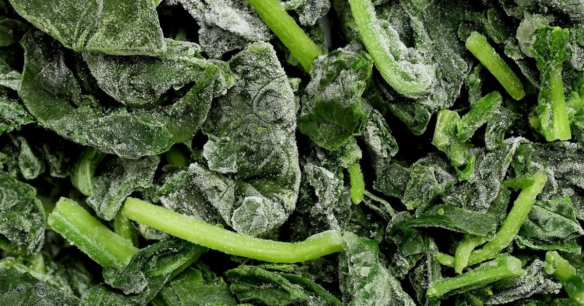 Place your spinach leaves into your dish frozen