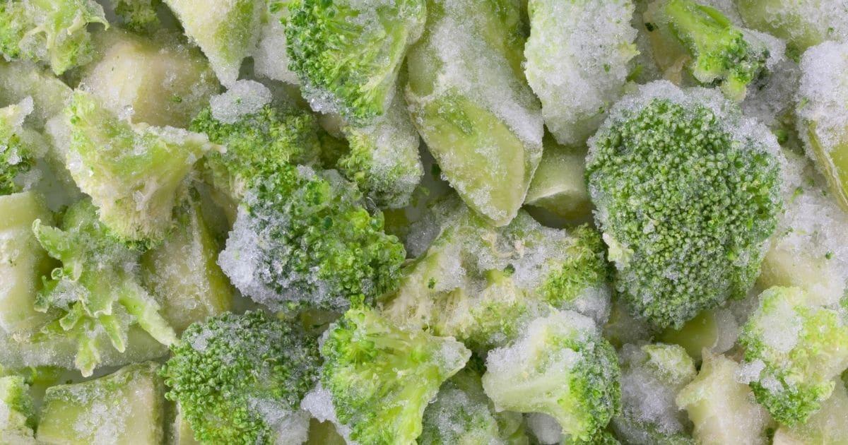 Frozen broccoli florets.