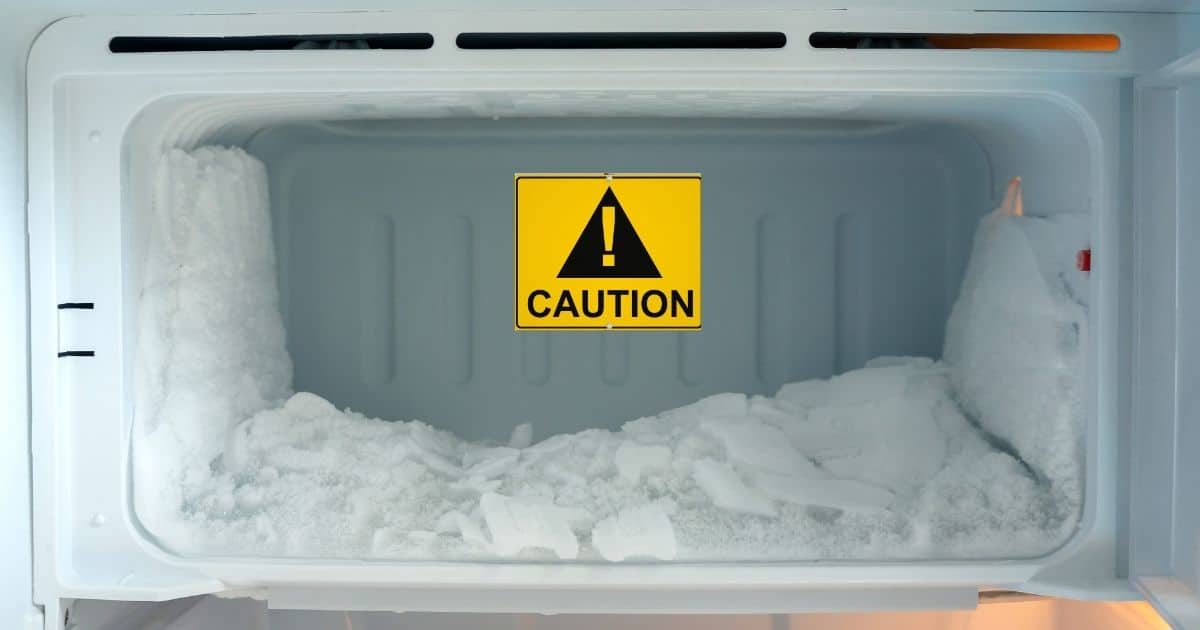 European freezer filled with ice