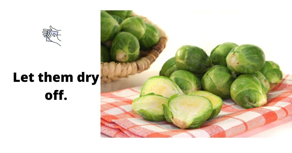 Brussel sprouts on a dishcloth