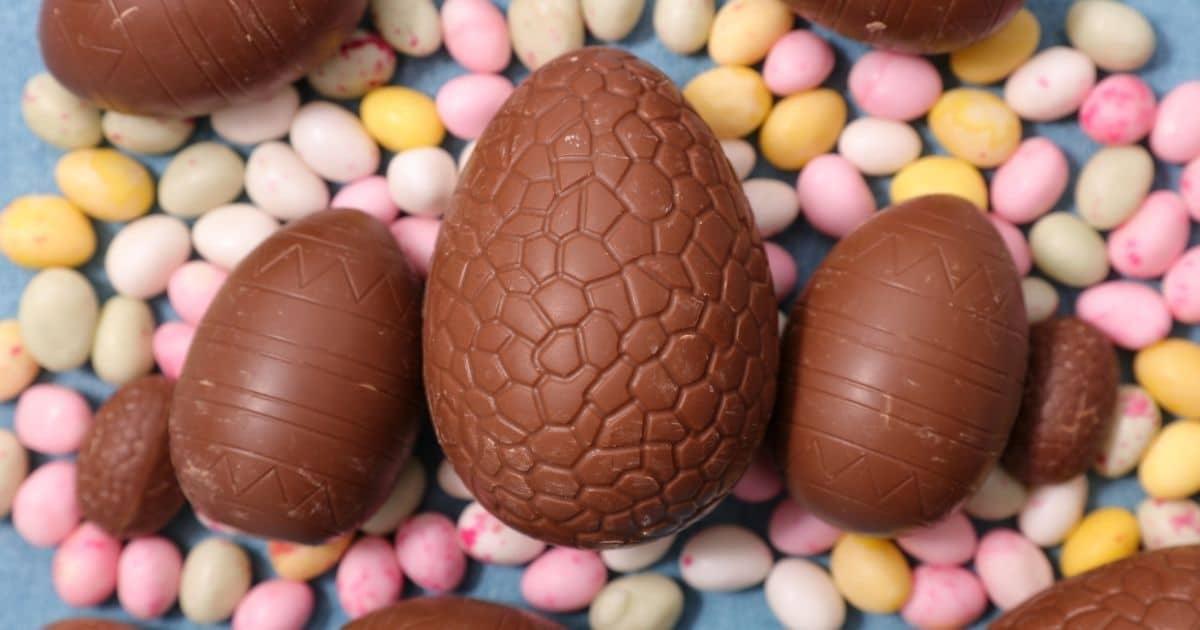 3 big chocolate Easter eggs