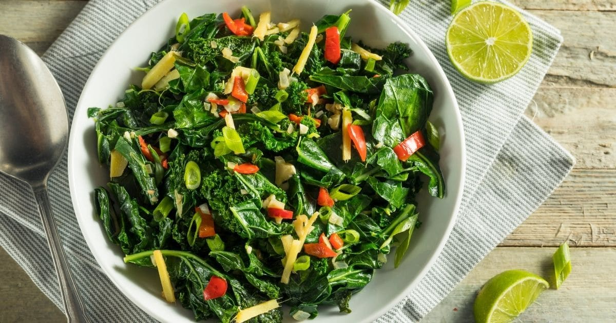 Collard greens cooked made into a nice salad.
