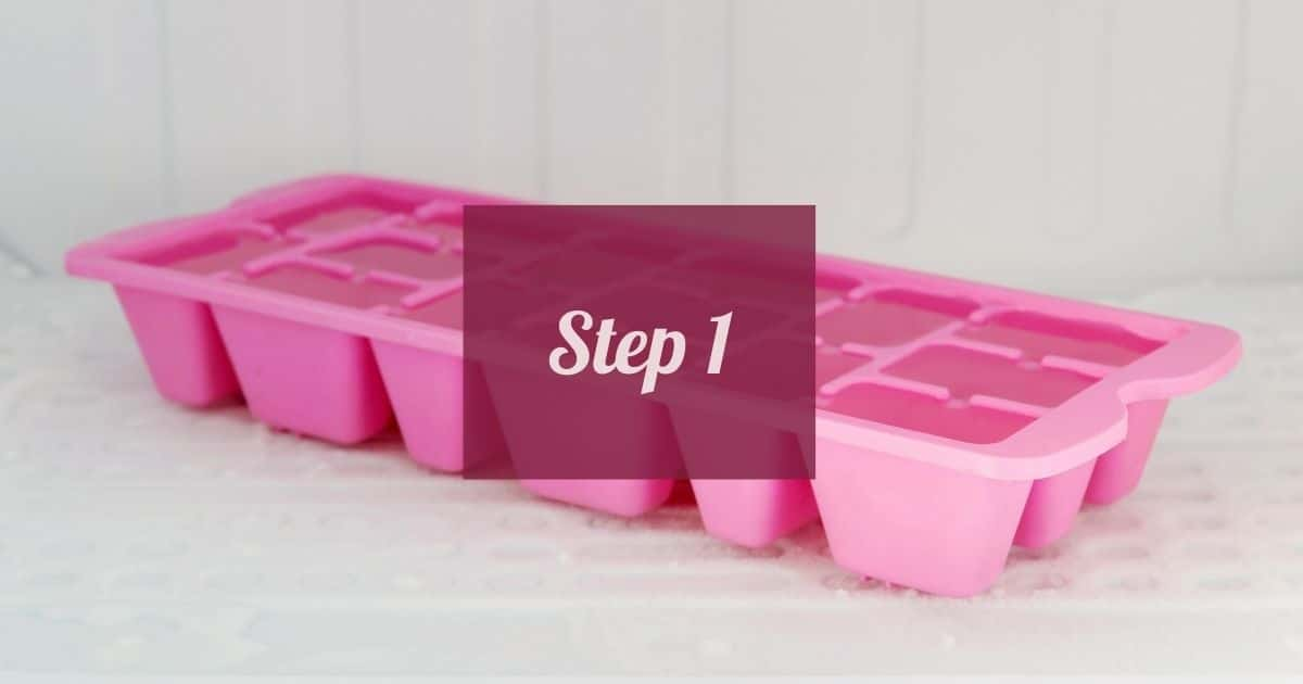 Pink ice cub tray.