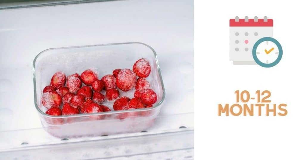 """A banner of frozen strawberries with the words """"10-12 months"""""""