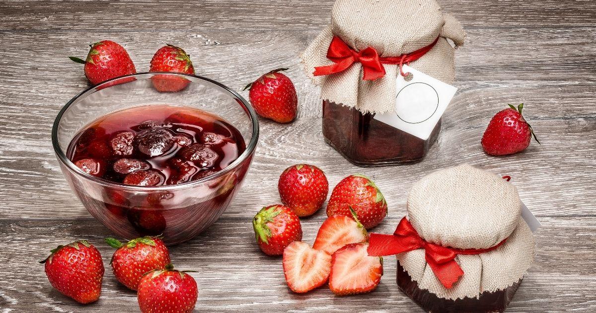 Strawberries being softened and sweetened in balsamic vinegar