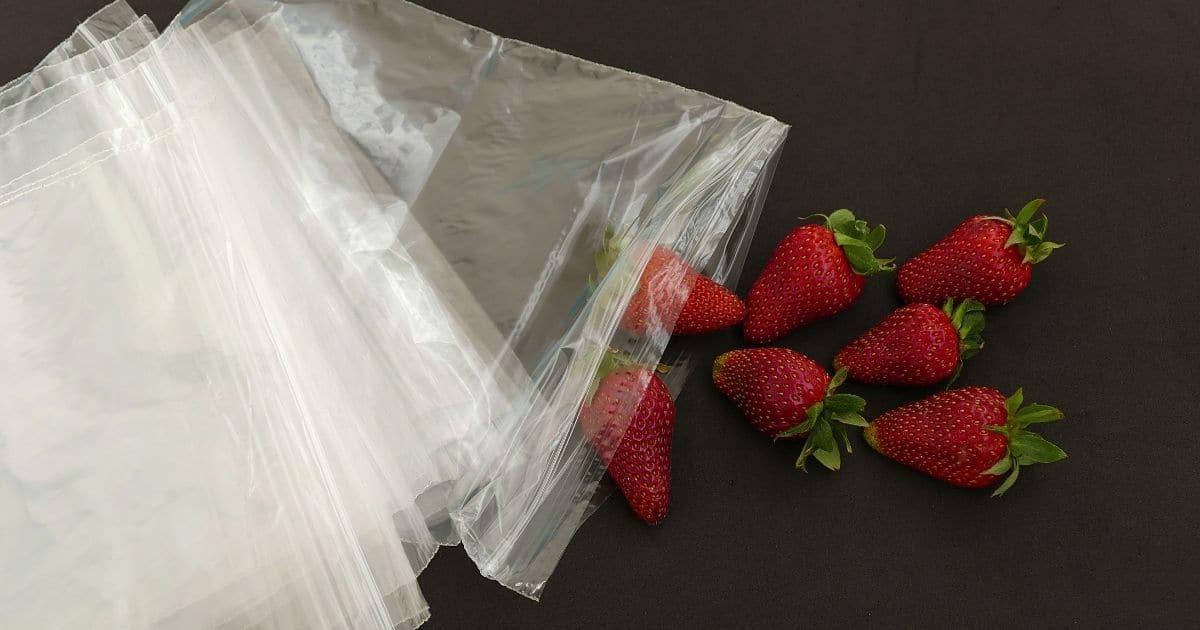 Strawberries next to ziploc bags.