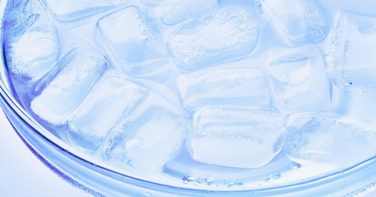 A bowl of icy cold water