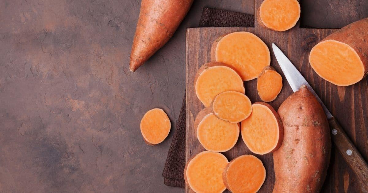 Raw sweet potatoes cut