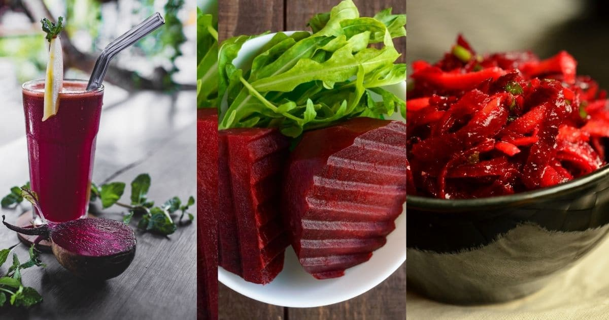 A smoothie, salad and a side dish all made with some delicious beetroots.